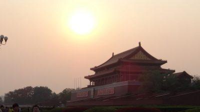 北京 天安門の夕日