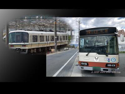 バスと電車の写真